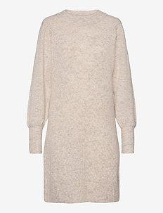 SLFLINNA LS  KNIT DRESS O-NECK B - neulemekot - sandshell