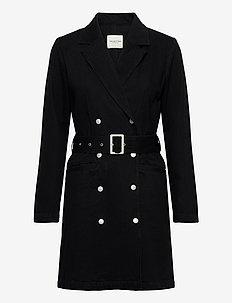 SLFDORA LS  BLAZER BLACK DENIM DRESS W - wrap dresses - black denim