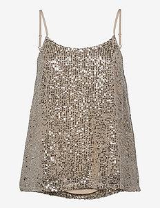 SLFLUCILLE SEQUINS STRAP TOP B - blouses sans manches - silver