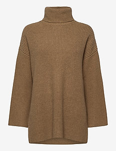 SLFKATTY LS LONG KNIT ROLLNECK W - turtlenecks - tigers eye