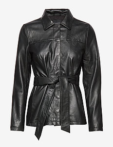 SLFNEW STELLA LEATHER JACKET B - BLACK