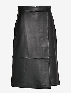 SLFMINGA HW LONG LEATHER SKIRT B - BLACK