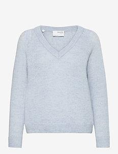 SLFLULU LS KNIT V-NECK B NOOS - jumpers - cashmere blue