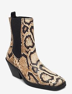 SLFAVA SNAKE LEATHER CHELSEA BOOT B - ankelstøvler med hæl - sandshell