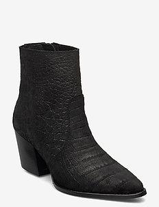 SLFJULIE SUEDE CROCO BOOT B - ankelstøvler med hæl - black
