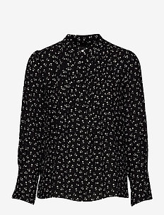 SLFLIVIA LS AOP TOP NOOS - long sleeved blouses - black