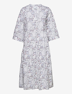 SLFROSELLA-FLORENTA 3/4 MIDI DRESS B - sommerkjoler - snow white