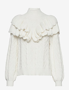 SLFVICTORIA LS KNIT CABLE HIGHNECK B - rullekraver - snow white