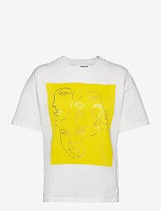SLFFACES 2/4 PRINTED TEE - t-shirts - bright white