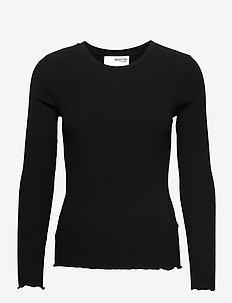 SLFANNA LS CREW NECK TEE S - t-shirts & tops - black
