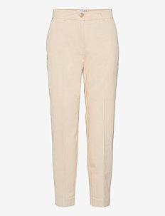 SLFNORA MW CROPPED PANT SEEDPEARL S - bukser med lige ben - seedpearl