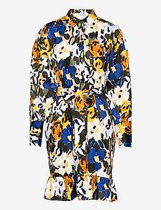 SLFRONNA-TONIA AOP LS SHORT DRESS B - sommerkjoler - sudan brown