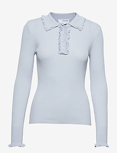 SLFROSELLA LS KNIT FRILL POLO-NECK B - strikkede toppe - arctic ice