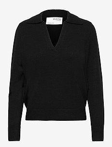 SLFAEYA LS KNIT POLO NECK W - trøjer - black