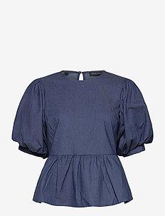 SLFMARINA  PUFF SLEEVE SHIRT EX - kortärmade blusar - medium blue denim
