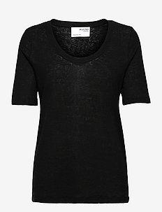 SLFLINEN SS U-NECK TEE - t-shirts - black