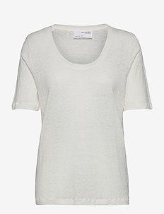 SLFLINEN SS U-NECK TEE - t-shirts - snow white