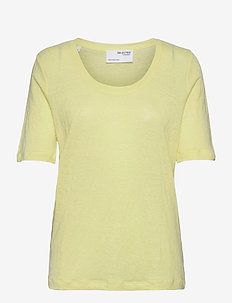 SLFLINEN SS U-NECK TEE - t-shirts - young wheat