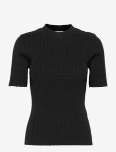 SLFQUEEN SS RIB KNIT O-NECK M - t-shirts & tops - black