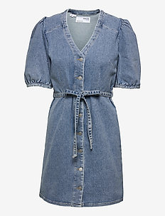 SLFSOPHIA MIDLUE  3/4 SL DNM DRESS U - sommerkjoler - medium blue denim