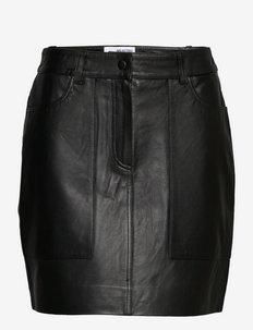 SLFJILLW LEATHERKIRT - korta kjolar - black