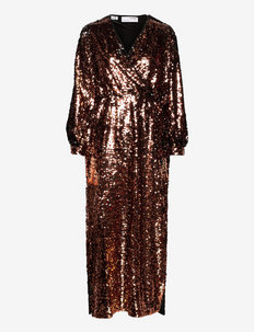 SLFROSALINE LS ANKLE SEQUINS DRESS G - paljettklänningar - copper