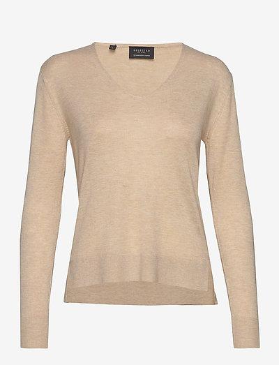 SLFLINEL LS KNIT V-NECK - sweaters - sand