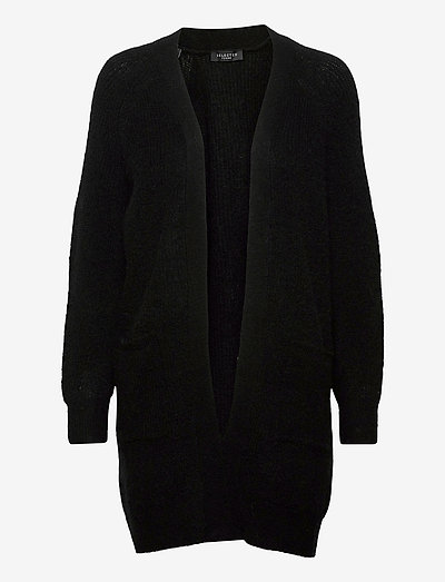 SLFLULU LS KNIT LONG CARDIGAN - cardigans - black