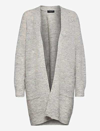 SLFLULU LS KNIT LONG CARDIGAN - cardigans - light grey melange