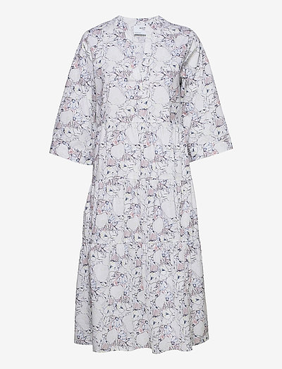 SLFROSELLA-FLORENTA 3/4 MIDI DRESS B - midi dresses - snow white