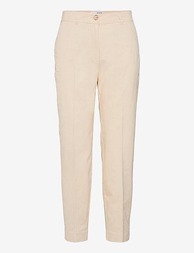 SLFNORA MW CROPPED PANT SEEDPEARL S - straight leg trousers - seedpearl