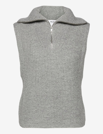 SLFKALLY KNIT VEST W - strikkevester - light grey melange