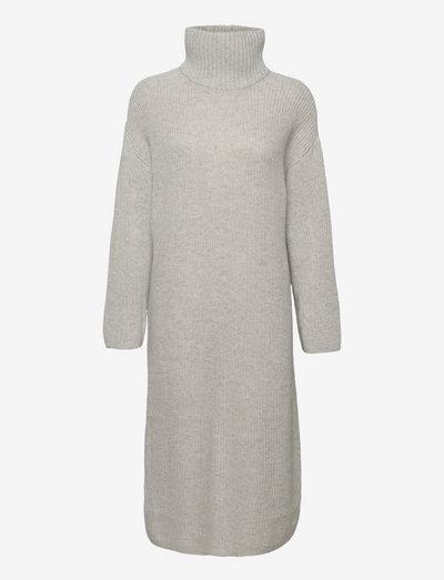 SLFELINA LS KNIT HIGHNECK DRESS B - sommerkjoler - light grey melange