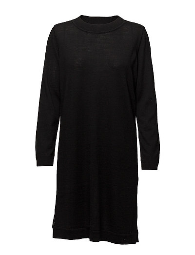 SFEILEEN LS KNIT O-NECK DRESS NOOS - BLACK