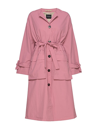 Slfbiona Ls Knot Trenchcoat B Trenchcoat Mantel Pink SELECTED FEMME