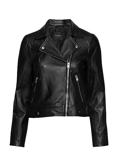 Slfkatie Leather Jacket B Noos Lederjacke Schwarz SELECTED FEMME