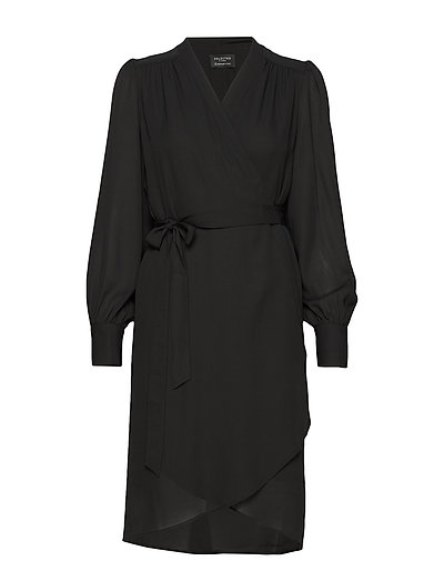 Slfalva Ls Wrap Dress Noos Kleid Knielang Schwarz SELECTED FEMME