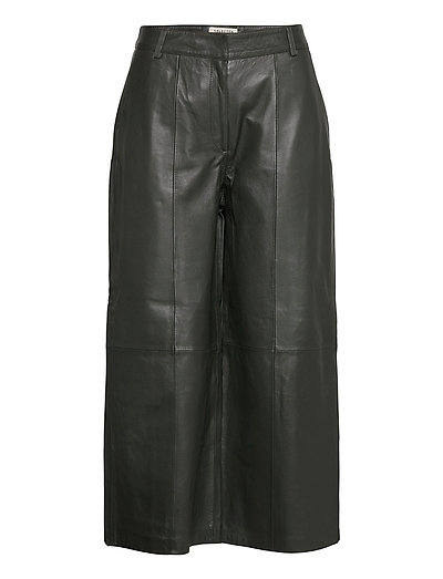 Slfesther Mw Cropped Leather Pant W Leather Leggings/Hosen Grün SELECTED FEMME