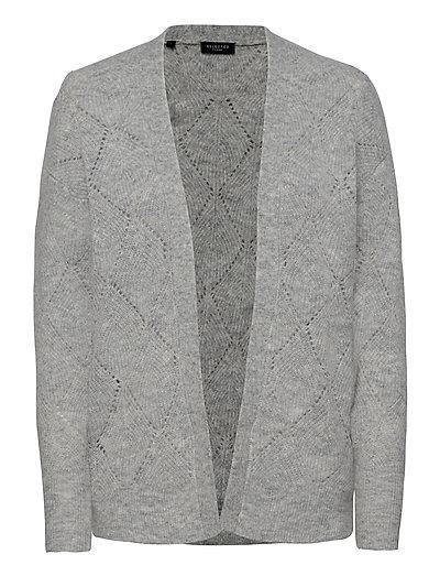 Slfsif Ls Structure Knit Cardigan B Cardigan Strickpullover Grau SELECTED FEMME