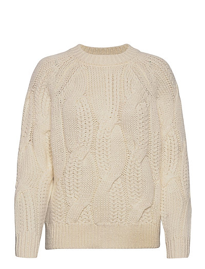 Slfbean Ls Knit Cable O-Neck B Strickpullover Weiß SELECTED FEMME