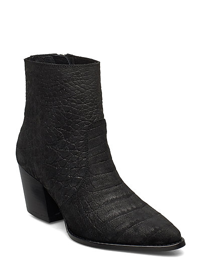 Slfjulie Suede Croco Boot B Shoes Boots Ankle Boots Ankle Boots With Heel Schwarz SELECTED FEMME