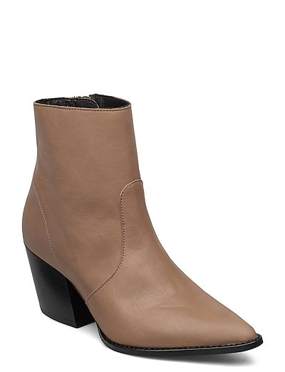 Slfjulie Leather Boot B Shoes Boots Ankle Boots Ankle Boots With Heel Braun SELECTED FEMME