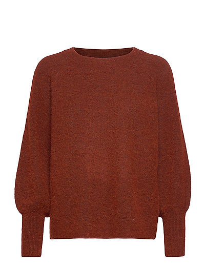 Slfsif Kaya Ls Knit O-Neck B Strickpullover Rot SELECTED FEMME
