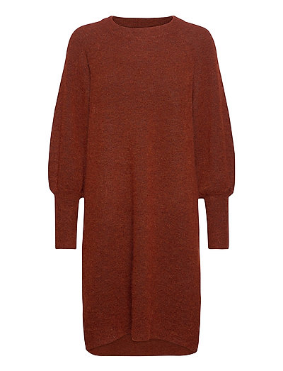 Slfsif Kaya Ls Knit Dress O-Neck B Strickpullover Rot SELECTED FEMME