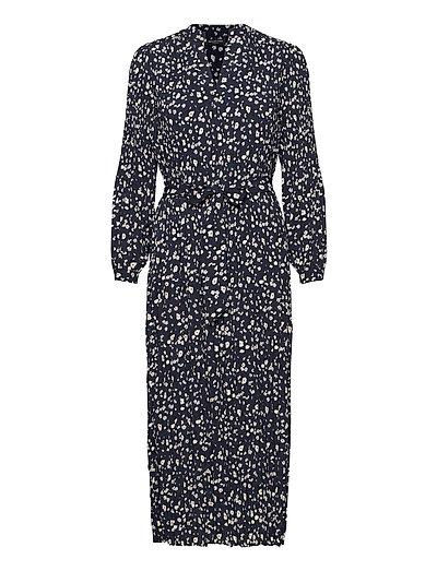 Slfmetha-Poppy Ls Long Dress Ex Kleid Knielang Blau SELECTED FEMME | SELECTED SALE