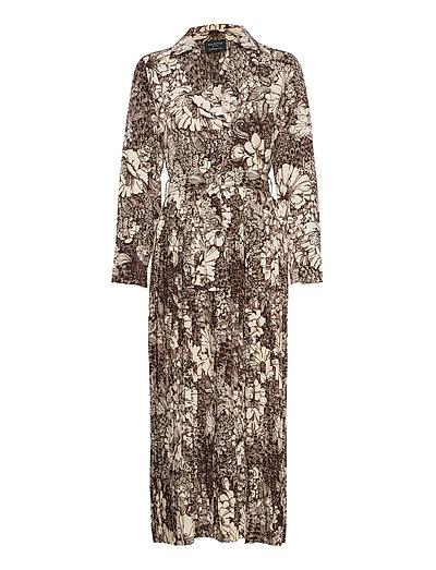 Slfzuri-Florenta Ls Aop Ankle Dress B Maxikleid Partykleid Grau SELECTED FEMME