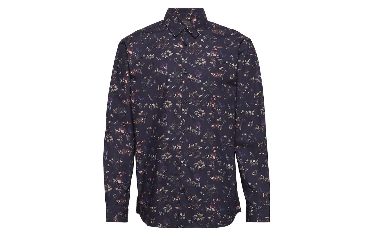 Homme Slhslimprimus Ls Dark Shirt Aop Navy B Selected wPpqd5P