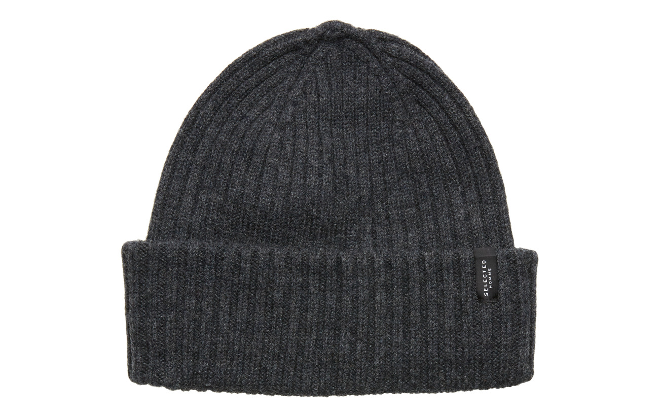 Selected Homme SLHMERINO CARDIGAN BEANIE W - DARK GREY MELANGE
