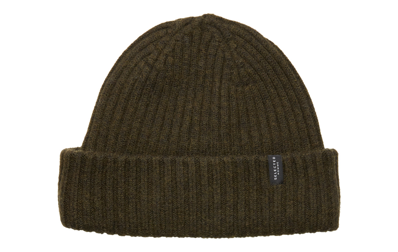 Selected Homme SLHMERINO CARDIGAN BEANIE W - OLIVE NIGHT