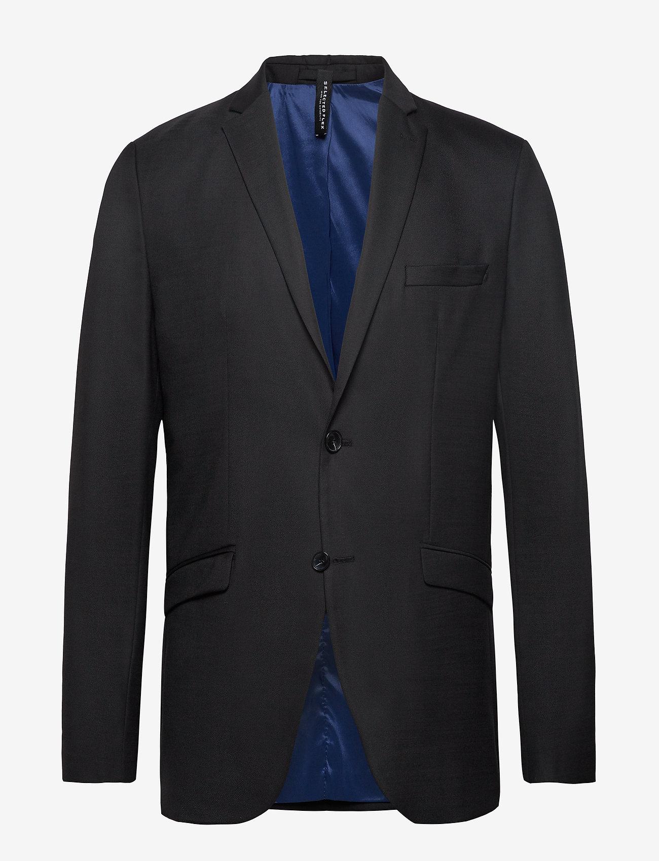 Selected Homme - SLHSLIM-MYLOSTATE FLEX BLACK BLZ B - single breasted blazers - black - 0